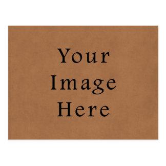 Vintage Brown Leather Parchment Paper Background Postcard