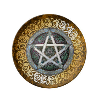 Vintage Brown Medieval Witchcraft Ritual Offering Plate