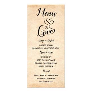 Vintage Brown Menu Love Grunge Wedding Party