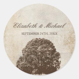Vintage Brown Oak Tree Fall Wedding Favor Label Round Sticker