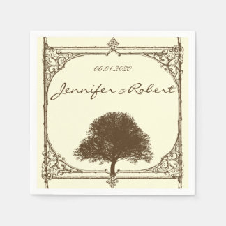 Vintage Brown Oak Tree on Cream Wedding Paper Napkin
