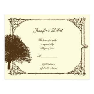 Vintage Brown Oak Tree on Cream Wedding RSVP Post Cards