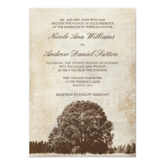Vintage Brown Oak Tree Wedding Invitations
