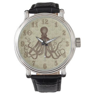 Vintage Brown Octopus with Anchors Watch