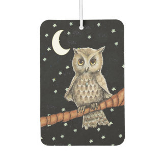 Vintage Brown Owl Necklace Crescent Moon Stars Car Air Freshener
