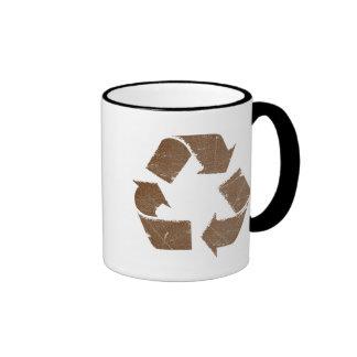 Vintage Brown Recycle Sign Ringer Mug