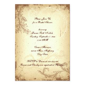 Vintage brown scroll leaf beige bridal shower 13 cm x 18 cm invitation card