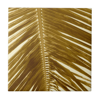 Vintage Brown Sepia Tropical Palm Tree Fronds Ceramic Tile