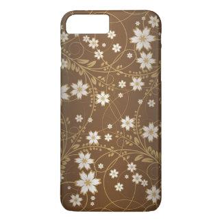 vintage brown swirl floral art iPhone 7 plus case
