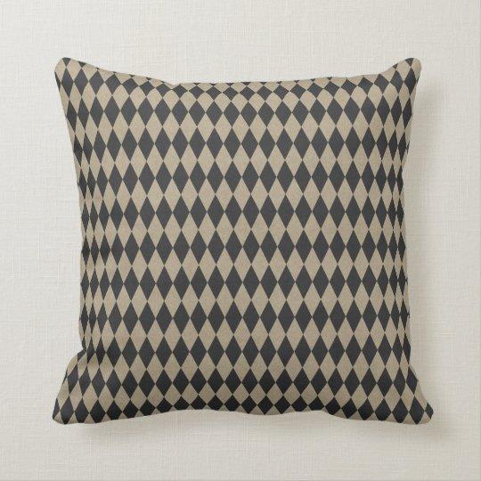 Vintage Brown Tan Black  Diamond Triangle Cushion