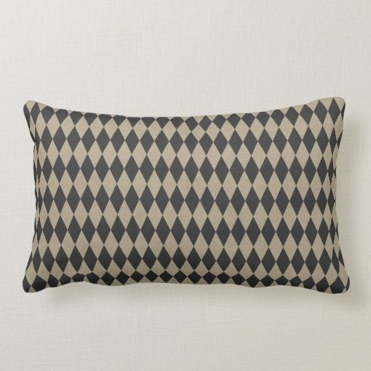 Vintage Brown Tan Black  Diamond Triangle Lumbar Cushion