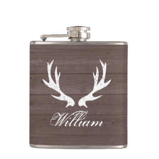 Vintage brown wood grain deer antlers hip flask