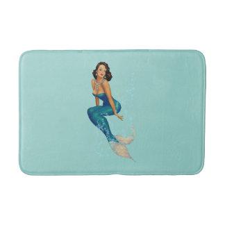 Vintage Brunette Pinup Mermaid in Diamonds Bath Mat