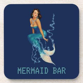 Vintage Brunette Pinup Mermaid in Diamonds Beverage Coasters