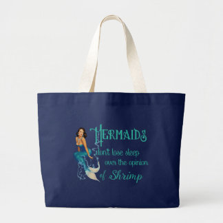 Vintage Brunette Pinup Mermaid in Diamonds Quote Large Tote Bag