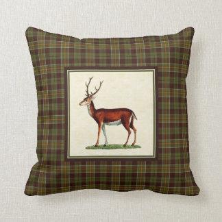 Vintage Buck Deer with Rustic Moss Fall Plaid Cushion