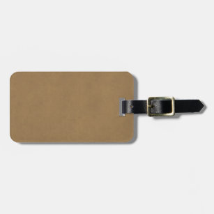 Vintage Buckskin Leather Brown Parchment Template Luggage Tag