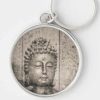 Vintage Buddha Style Silver-Colored Round Key Ring
