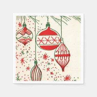 Vintage bulbs Christmas retro party napkins Paper Napkins