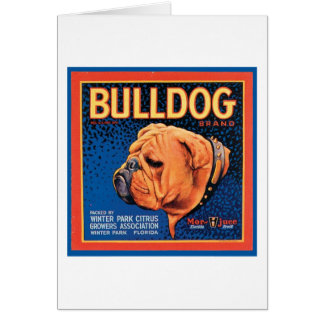 Vintage Bulldog Brand Crate Label Greeting Card