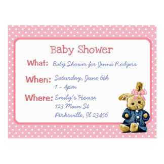 Vintage Bunny Girl's Baby Shower Invitation Postcard