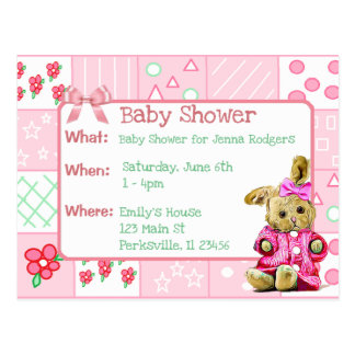 Vintage Bunny Pink Girl's Baby Shower Invitation Postcard