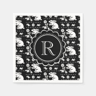 Vintage Bunny Rabbit Monogram Black and White Disposable Napkin
