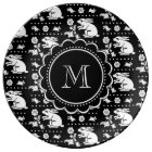 Vintage Bunny Rabbit Monogram Black and White Plate