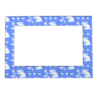 Vintage Bunny Rabbit with Flower Blue and White Magnetic Picture Frames