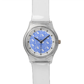 Vintage Bunny Rabbit with Flower Blue and White Watches