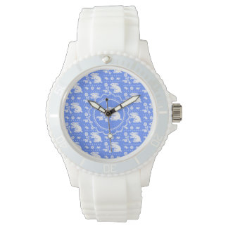 Vintage Bunny Rabbit with Flower Blue and White Wristwatches