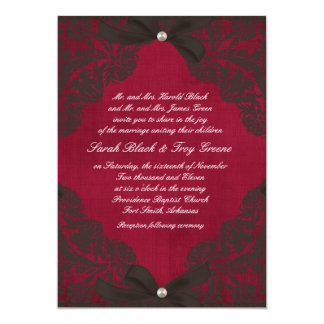 Vintage Burgundy and Black Lace 13 Cm X 18 Cm Invitation Card