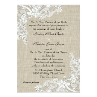 Vintage Burlap and Lace Wedding 5x7 Paper Invitation Card