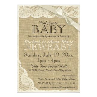 Vintage Burlap and Lace with Bow Baby Shower 13 Cm X 18 Cm Invitation Card