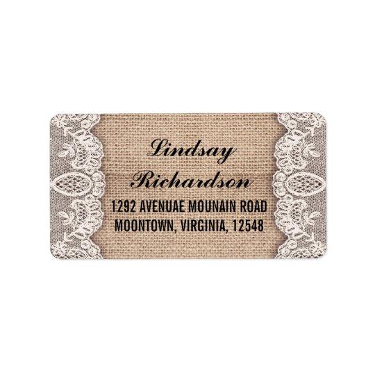 vintage burlap and white lace address labels
