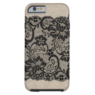 Vintage Burlap & Black Lace iPhone 6 case