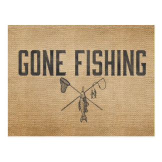 Vintage Burlap Gone Fishing Postcard