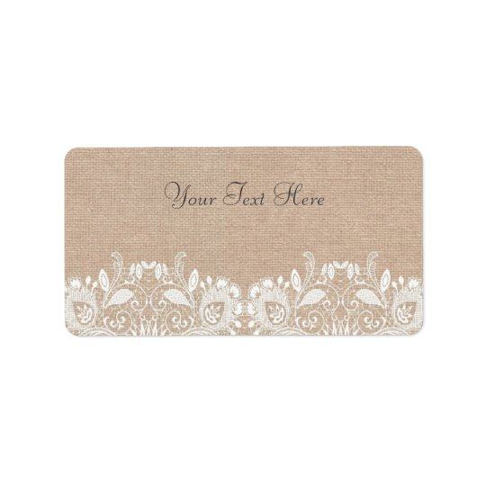 Vintage Burlap & Lace Address Labels
