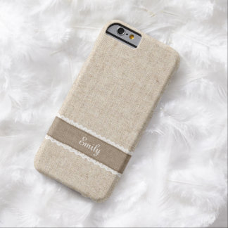 Vintage Burlap & Lace Custom Name iPhone 6 Case