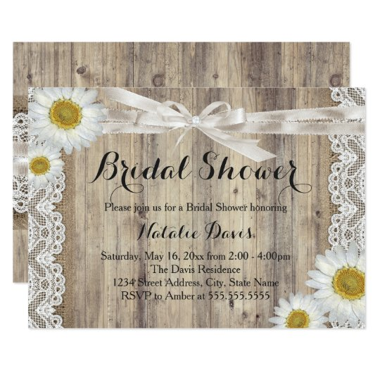Vintage Burlap Lace & Daisy Bridal Shower Invite