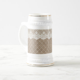 Vintage Burlap Lace Ladies Beer Stein White Gold