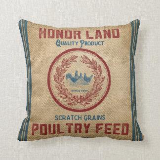 Vintage Burlap Poultry Feed Sack Cushion