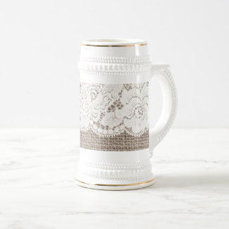 Vintage Burlap Rose Lace Ladies Beer Stein White