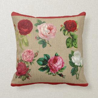 Vintage Burlap Roses Cotton Throw Pillow