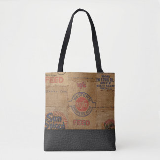 Vintage Burlap Sack and Leather - Tote Bag