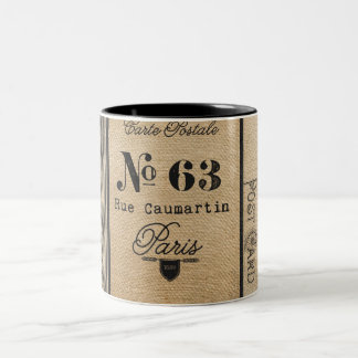 Vintage Burlap Stylish French Paris Coffee Mug