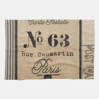 Vintage Burlap Stylish French Paris Tea Towel