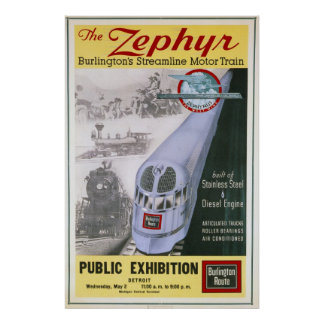 Vintage Burlington Zephyr Locomotive Poster