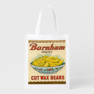 Vintage Burnham Brand Cut Wax Beans Label Reusable Grocery Bag