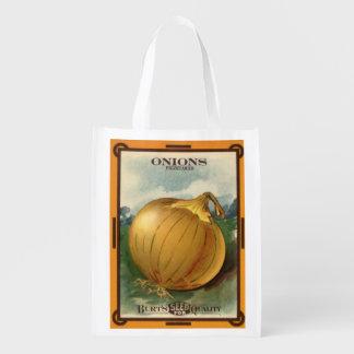 Vintage Burt's Onion Seed Package Reusable Grocery Bag